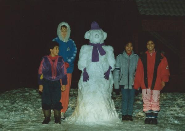 Ed Soriano en zijn eerste sneeuwpop