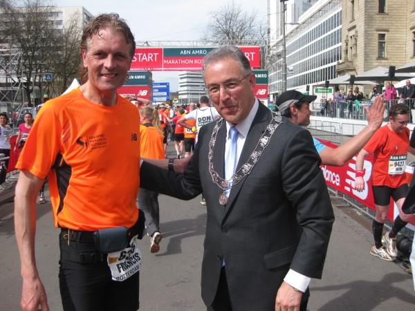 2013, 14 april, Rotterdam Marathon met Burgemeester Ahmed Aboutaleb, zie verslag