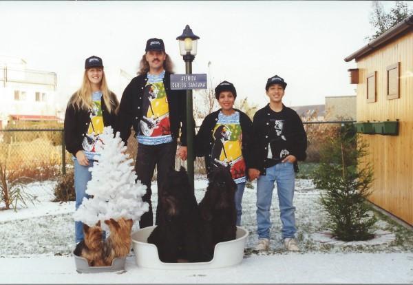Kerst 1993 met mama en de honden