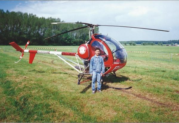 Ed Soriano zijn eerste helicoptervlucht